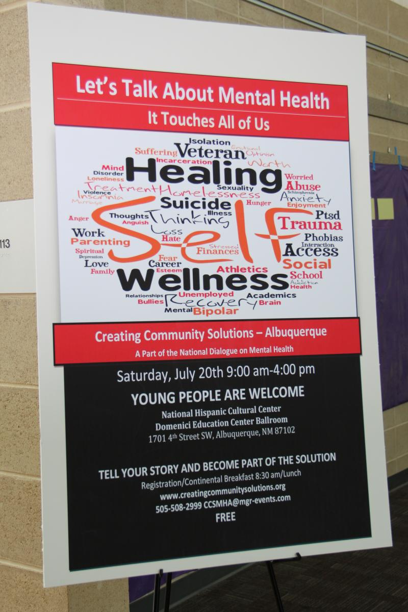 Promotional banner for the dialogue on mental health in Albuquerque, NM
