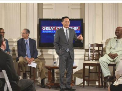 Eric Liu presents findings from Connecticut's Civic Health Index