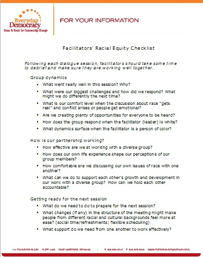 Facilitator's Racial Equity Checklist
