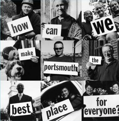 "People holding signs that say ""How can we make Portsmouth the best place for everyone?"""