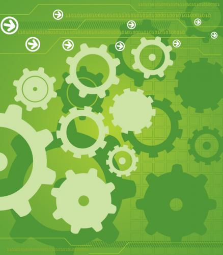 Abstract illustration of gears on a green background